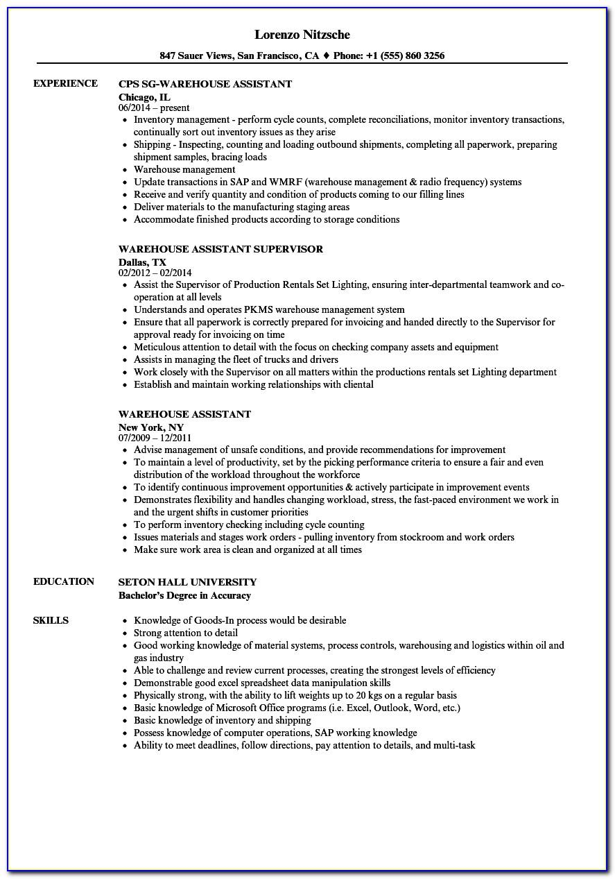 Warehouse Operations Manager Job Description Examples