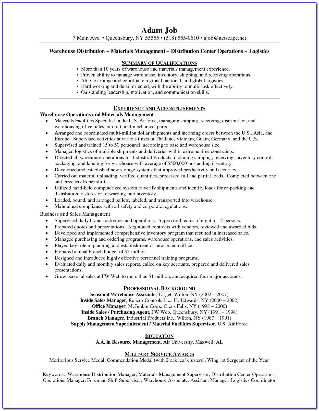 Warehouse Operations Manager Job Description For Resumewarehouse Operations Manager Job Description For Resume