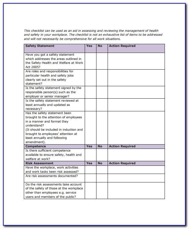Warehouse Safety Checklist Sample