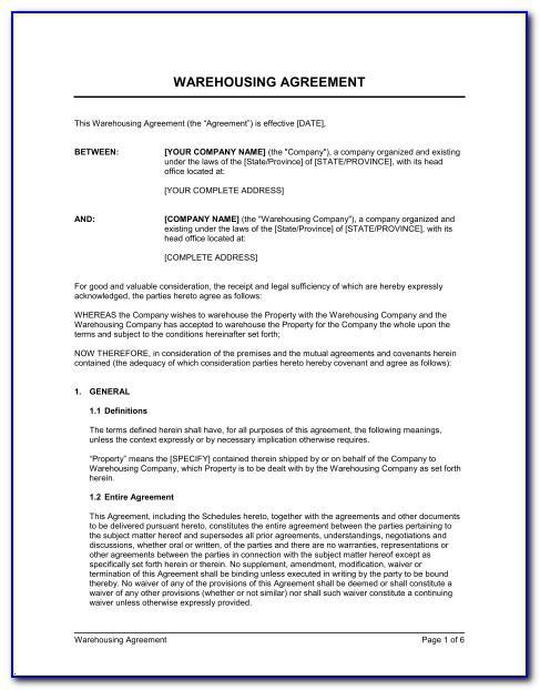 Warehouse Storage Agreement Template