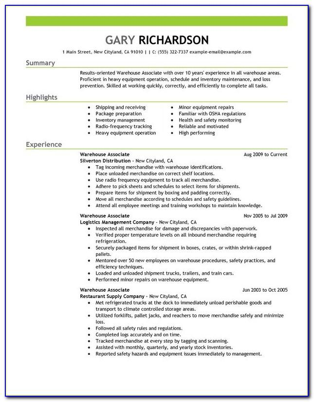 Warehouse Work Resume Template