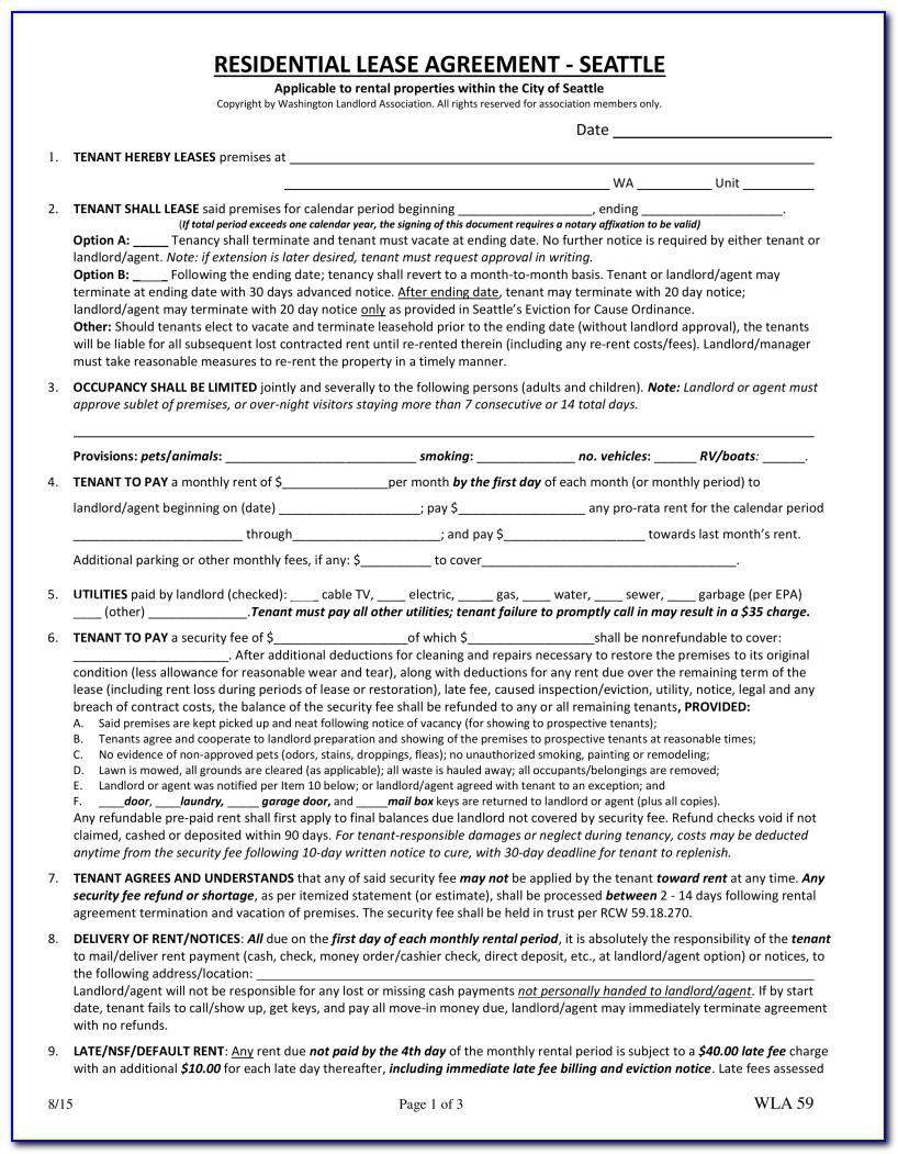 Washington State Commercial Lease Agreement Form