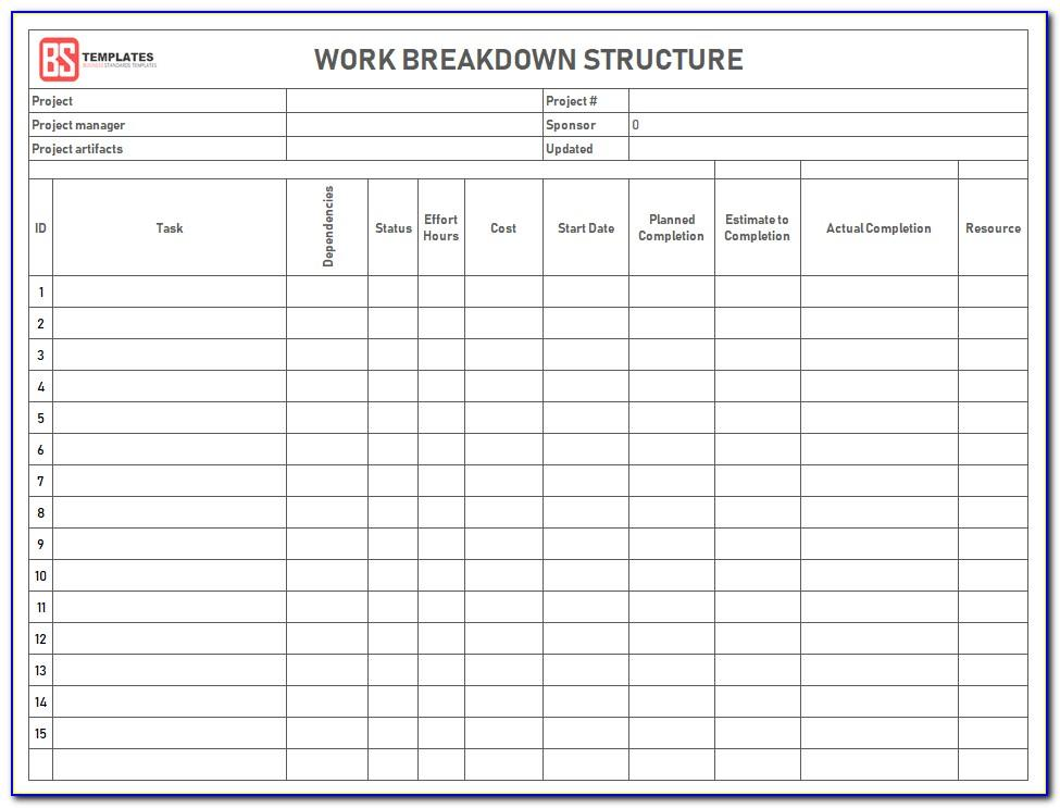 Wbs Tree Diagram Template Excel
