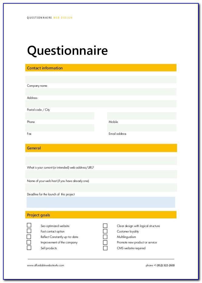 Web Design Questionnaire Sample