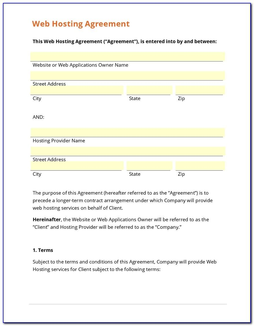 Web Hosting Contract Template