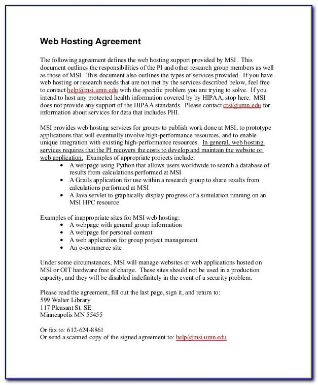 Web Hosting Service Level Agreement Template