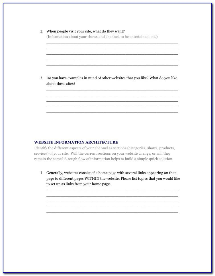 Website Design Questionnaire Template Doc