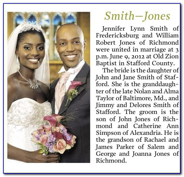 Wedding Announcement Format For Newspaper