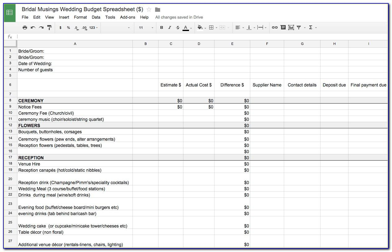 Wedding Budget Spreadsheet Ireland