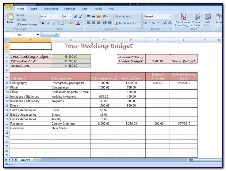 Wedding Budget Template Australia