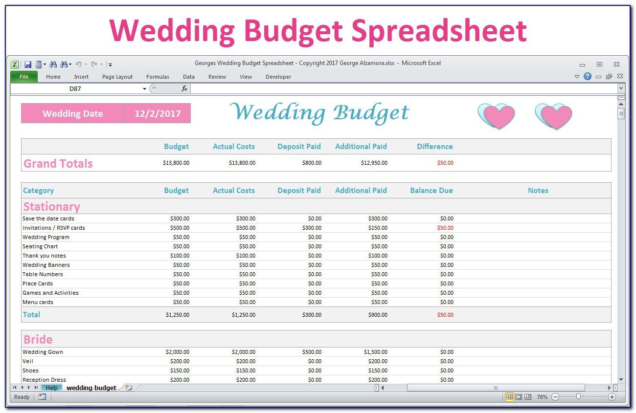 Wedding Budget Template Excel Australia