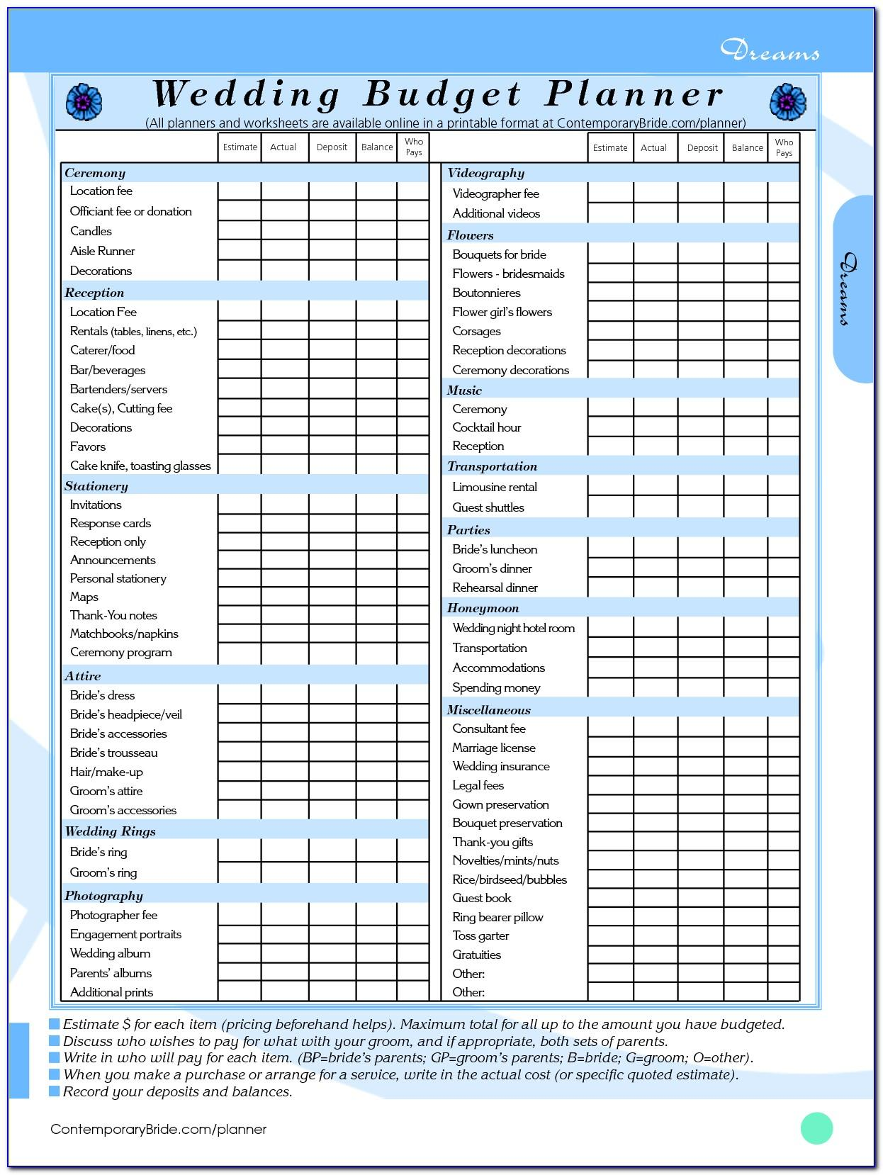Wedding Budget Template Excel South Africa