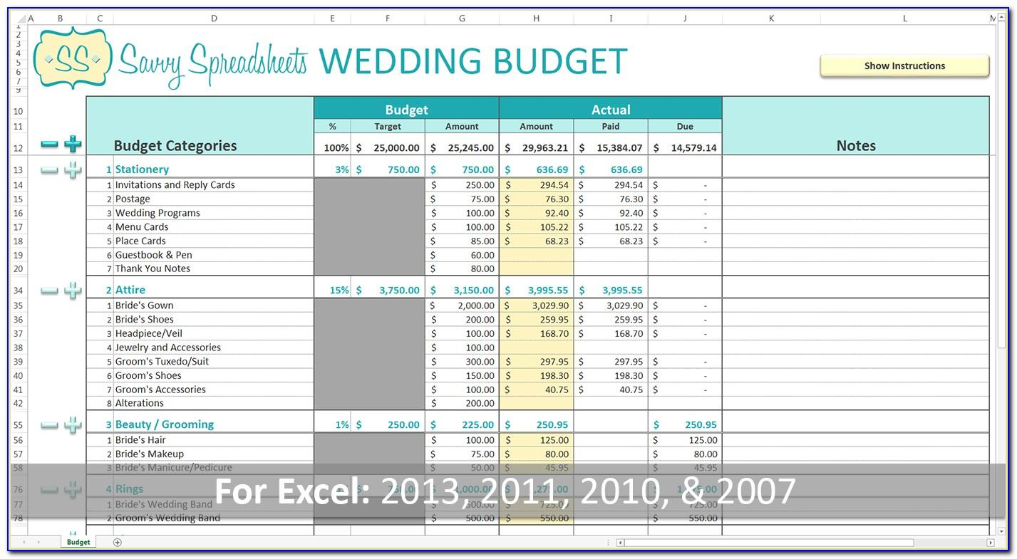 Wedding Budget Template The Knot