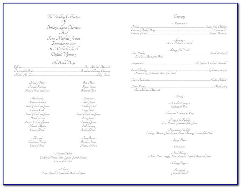 Wedding Ceremony Agenda Template
