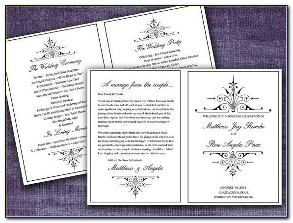 Wedding Ceremony Program Booklet Template
