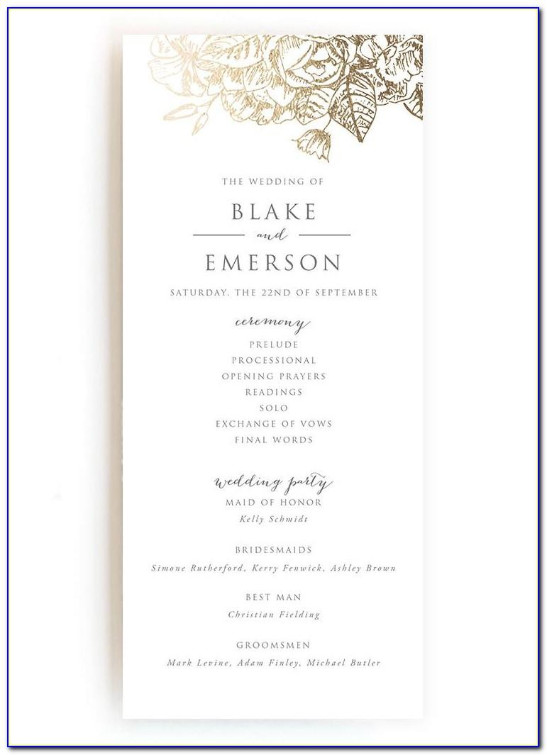 Wedding Ceremony Program Sample Pdf