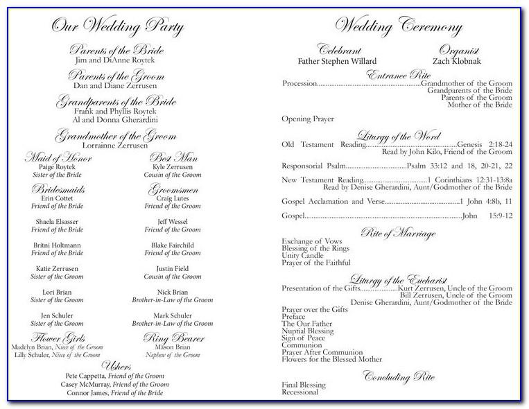 Wedding Ceremony Program Template Catholic
