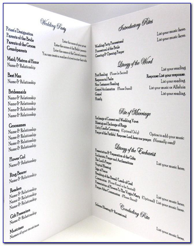 Wedding Ceremony Program Template Etsy