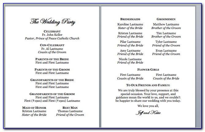 Wedding Ceremony Program Template Free Download