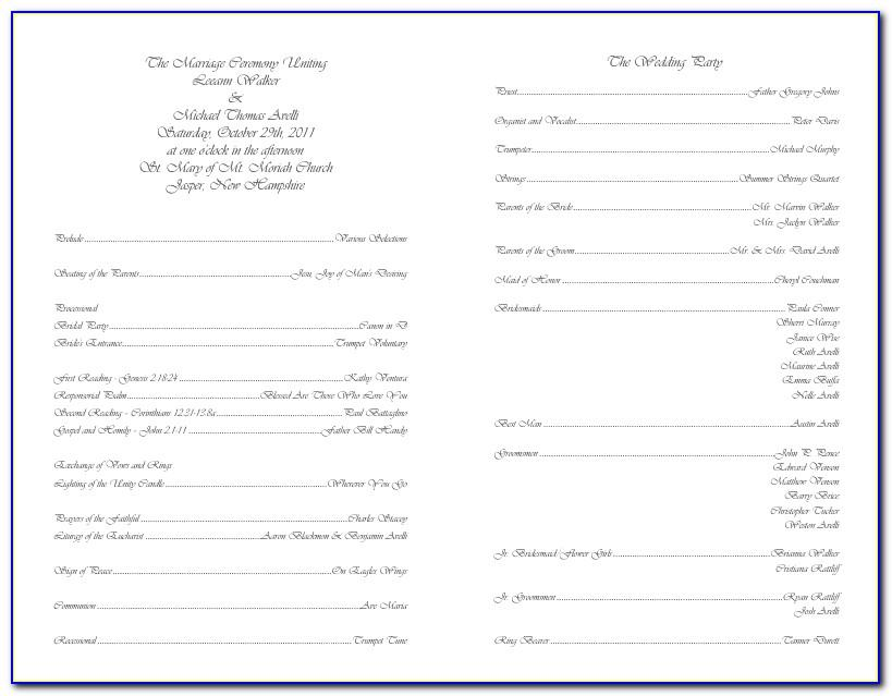 Wedding Ceremony Program Template Word