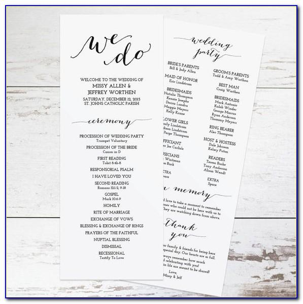 Wedding Church Program Samples
