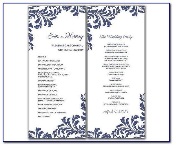 Wedding Church Program Templates Free