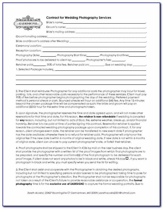 Wedding Contract Templates Free
