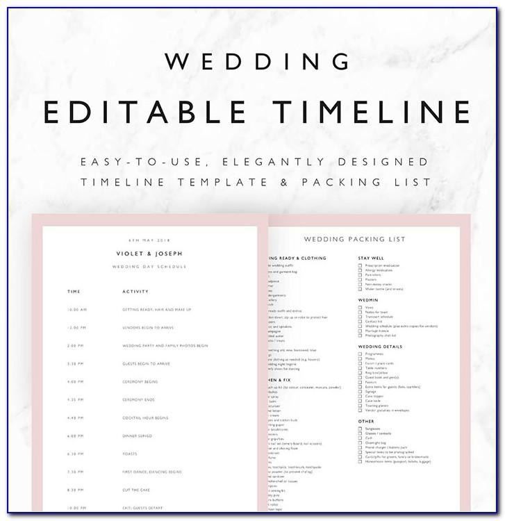 Wedding Day Schedule Timeline Template