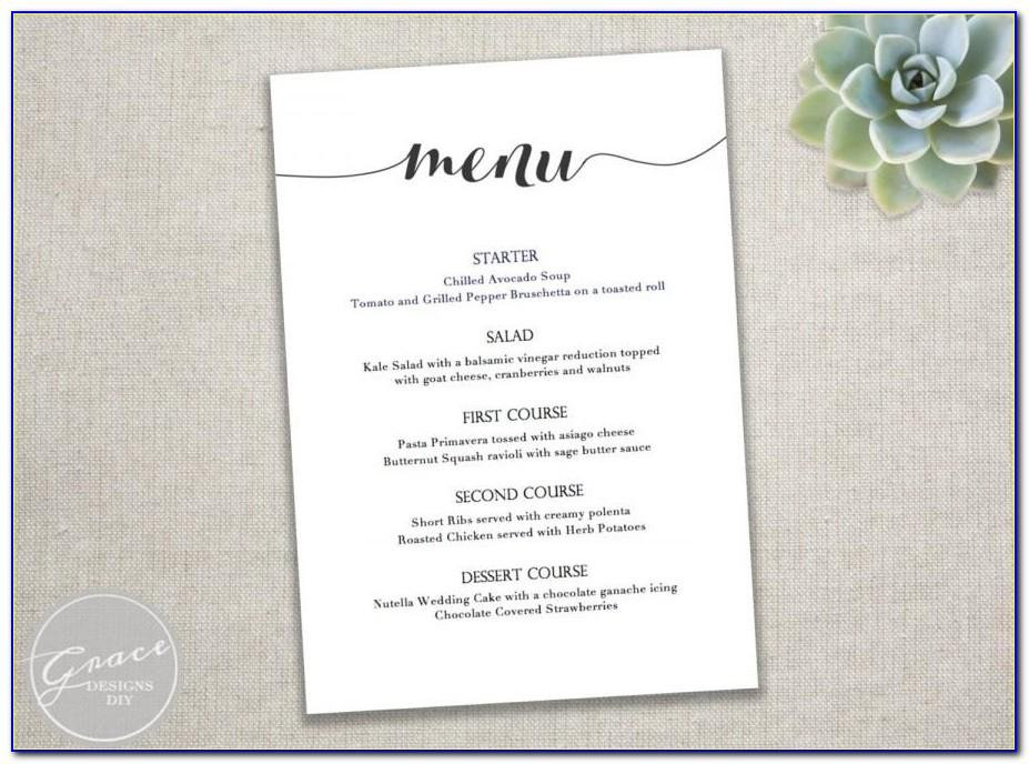 Wedding Dinner Menu Template Free