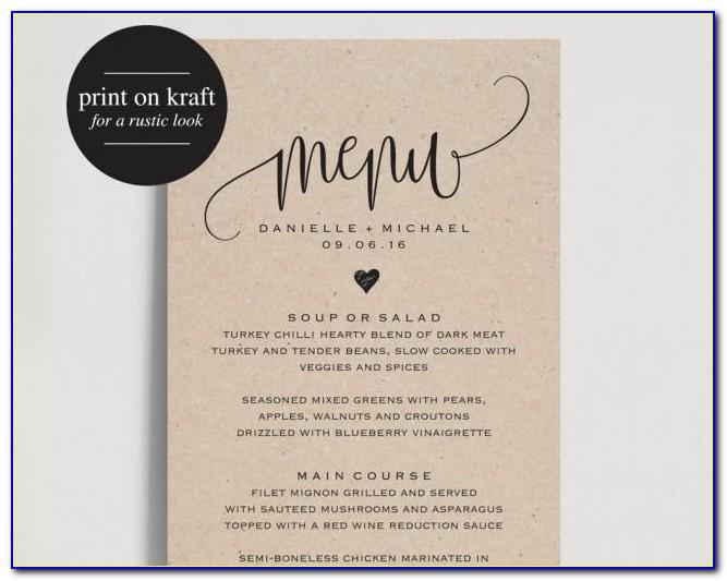 Wedding Dinner Menu Template Word