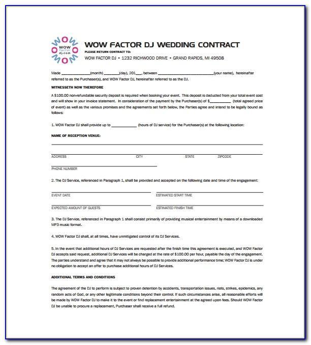 Wedding Dj Contract Sample