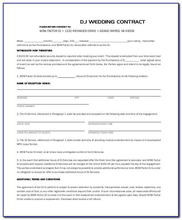 Wedding Dj Contract Template Free