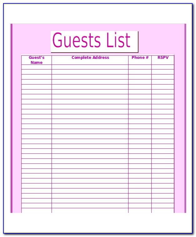 Wedding Guest List Rsvp Template