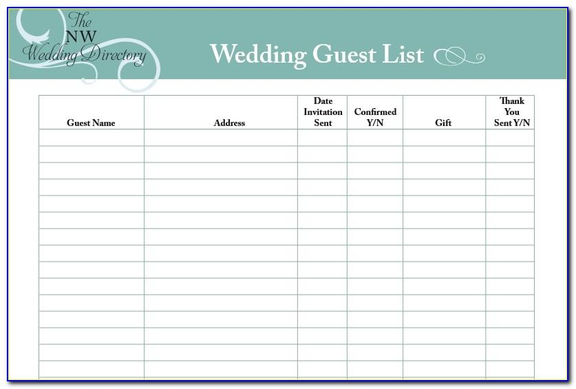 Wedding Guest List Template Uk