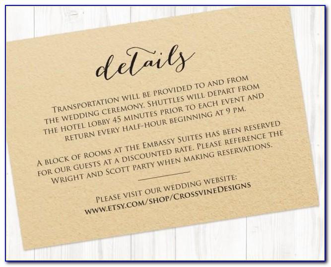 Wedding Invitation Information Insert Template
