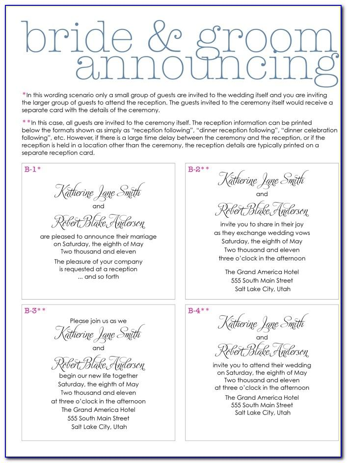 Wedding Invitation Wording Examples Bride And Groom Hosting