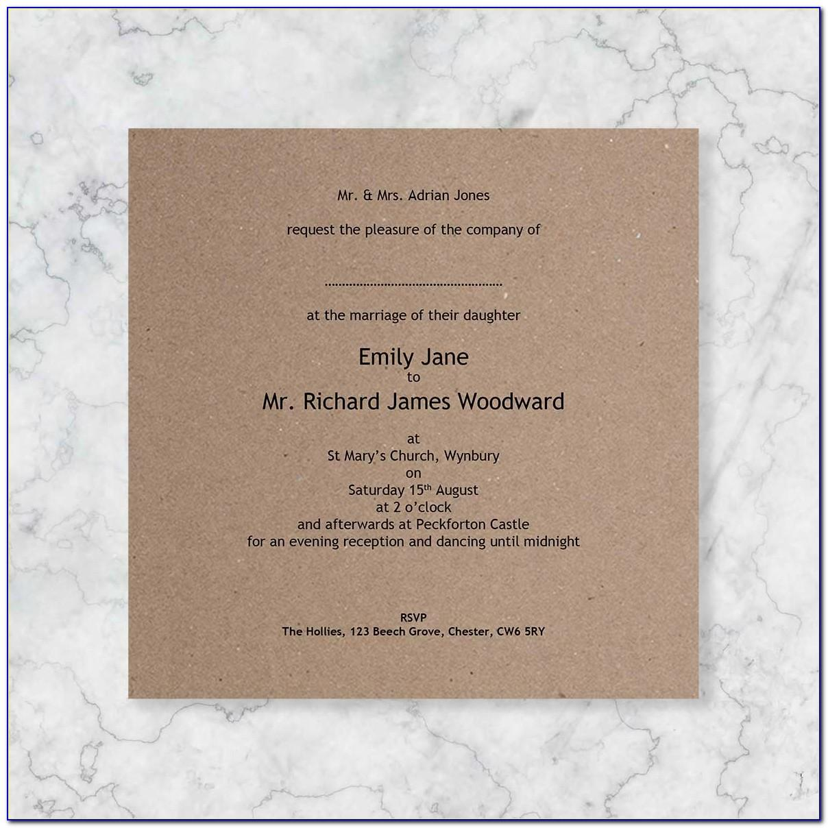 Wedding Invitation Wording Templates Uk
