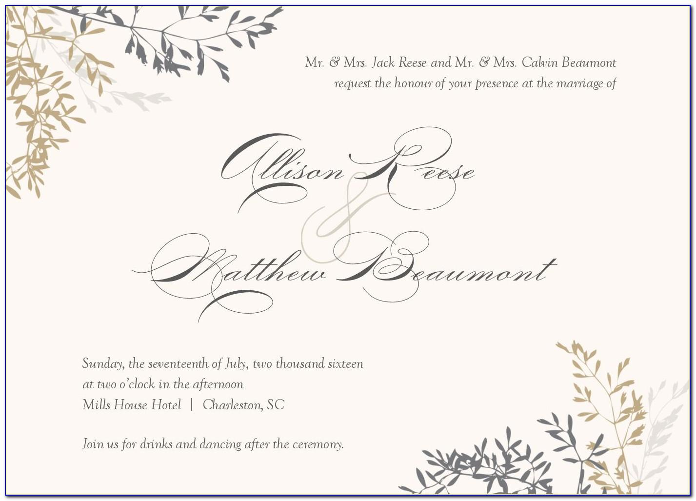 Wedding Invitations Wording Templates