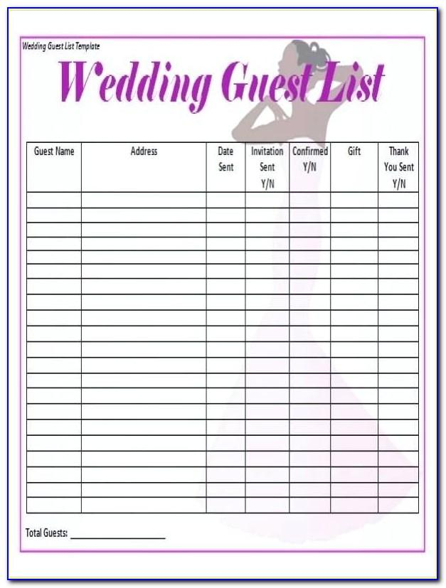 Wedding List Template Wordwedding List Template Word