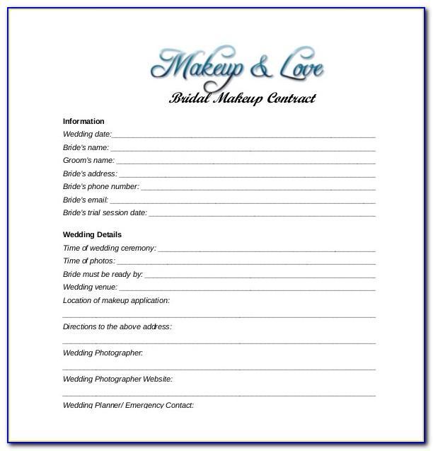 Wedding Makeup Contract Sample