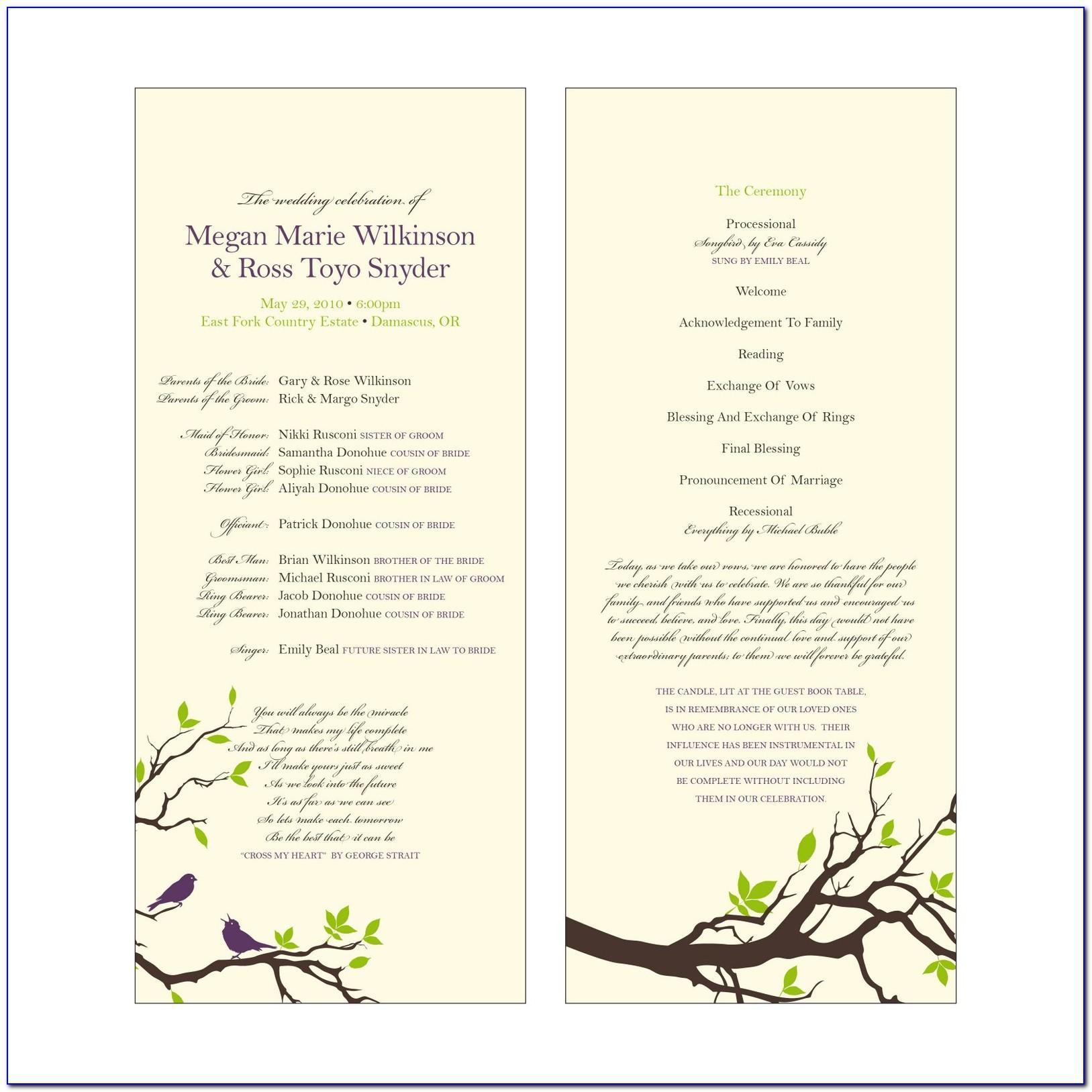 Wedding Mass Program Template Free
