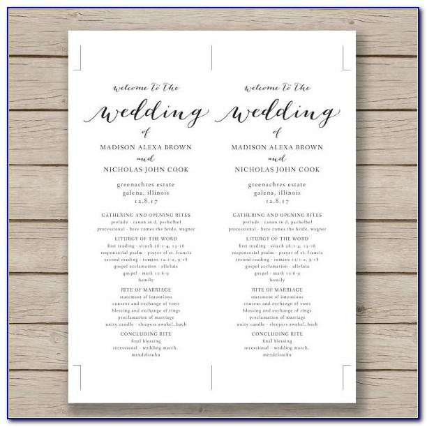 Wedding Menu Samples Templates