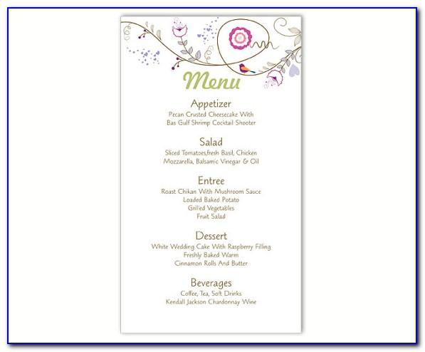 Wedding Menu Template Word Document Free