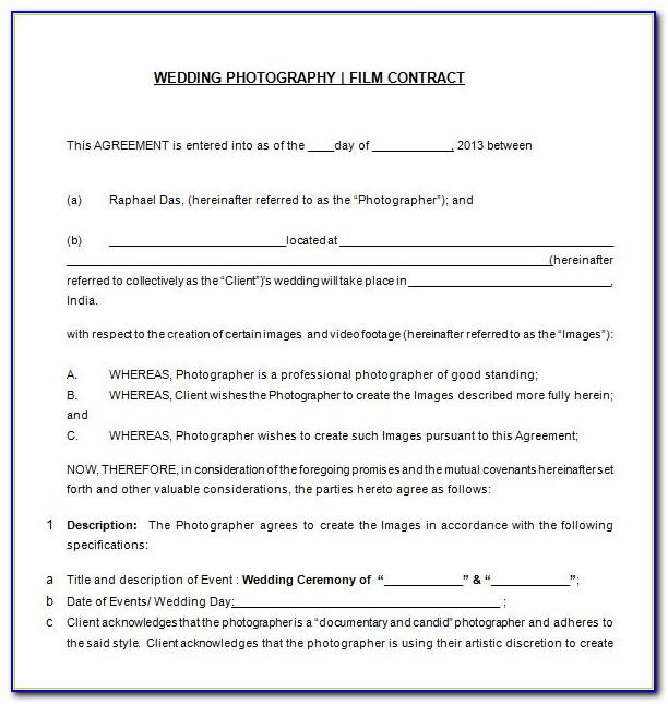 Wedding Photography Contract Template Australia