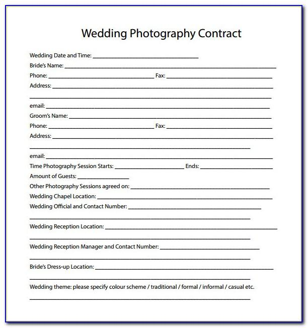 Wedding Photography Contract Template Canada
