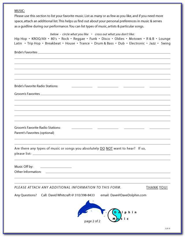 Wedding Planner Checklist Form