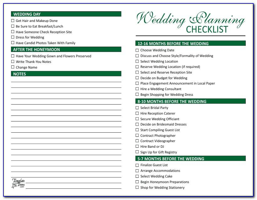 Wedding Planning Checklist Forms