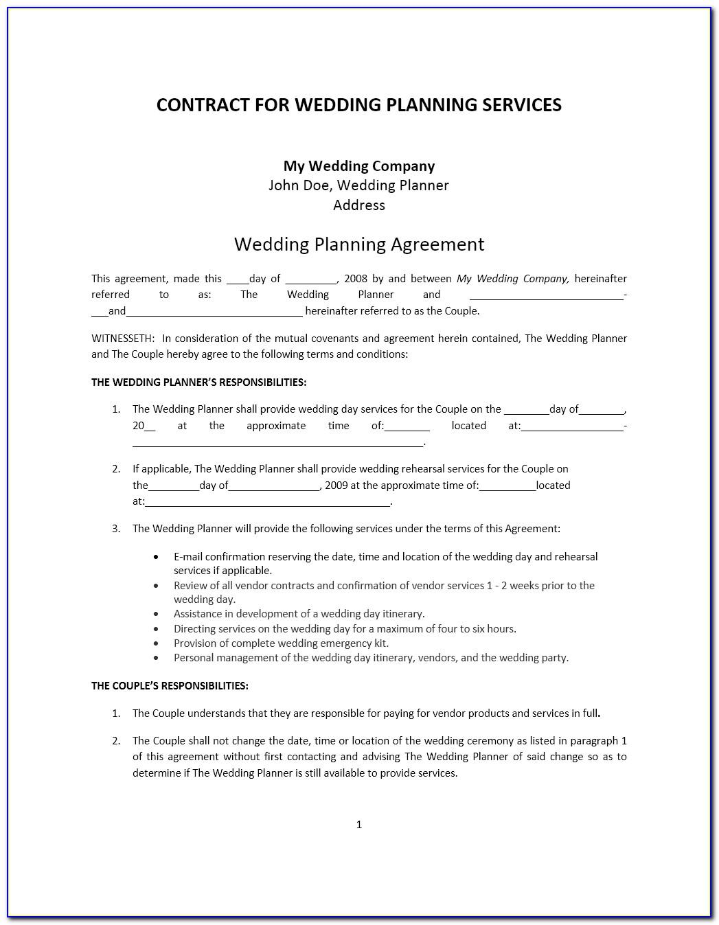 Wedding Planning Contract Template