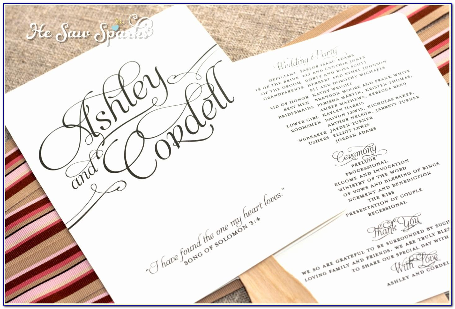 Wedding Program Designs Examples