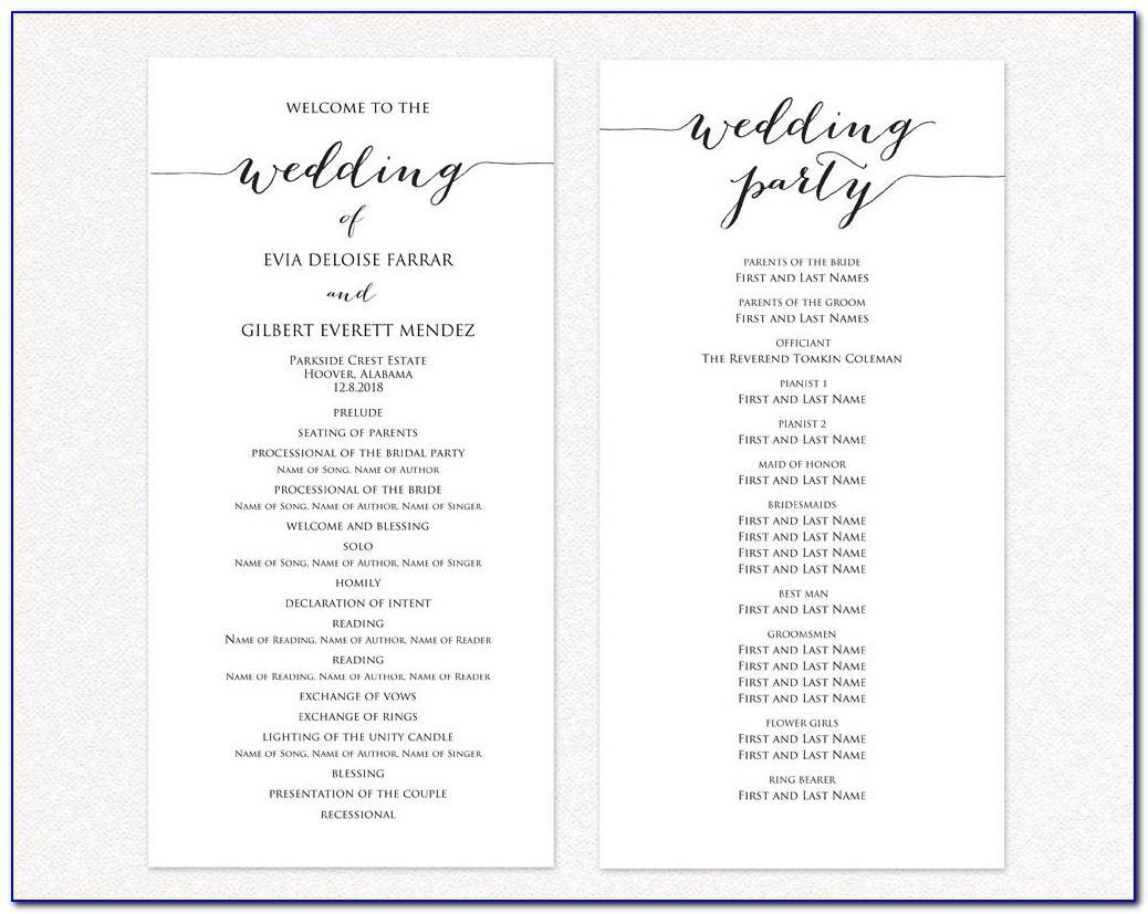 Wedding Program Free Template For Ceremony